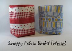 Scrappy Fabric Basket TUTORIAL... How to make a fabric basket using small pieces of fabric from your stash ~ Threading My Way sewing baskets, craft, sewing projects, sew project, scrap fabric, sewing blogs, scrappi fabric, fabric basket, basket tutori