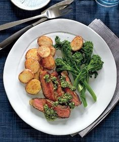 Steak With Crispy Potatoes and Pistachio Pesto recipe from realsimple.com #myplate #protein #vegetables