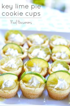 Key Lime Pie Cookie Cups | Real Housemoms | These little cups are the perfect way to enjoy eating Key Lime Pie! Cookie Cups •½ the dough for Lime Sugar Cookies*  Key Lime Pie Filling •3 egg yolks •½ cup key lime juice** •1-14 oz can sweetened condensed milk •1 tsp vanilla extract •whipped cream for garnish •lime slices, halved for garnish
