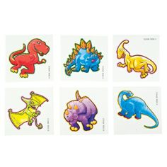 Cute Dinosaur Tattoo (Bulk Pack of 144 Tattoos) at theBIGzoo.com, a toy store that has shipped over 1.2 million items.