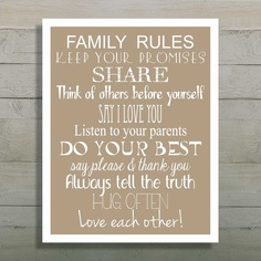 Family Rules Sign, Wall Art Print, In this house we do, Customizable Family Rules. $19.00, via Etsy.