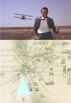 Iconic airplane scene from North by Northwest juxtaposed with Hitchcock's hand-sketched camera diagram. [exhibited at the Museum of the Moving Image]