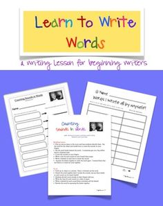 Learn to Write Words, Writing Lesson for Beginning Writers $