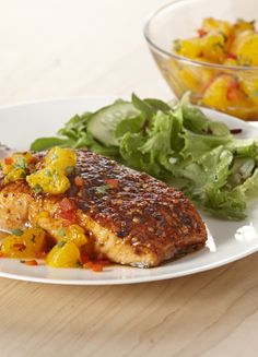 Fresh fruits, veggies & spices add nutrients & flavor to family-friendly salmon during Lent.