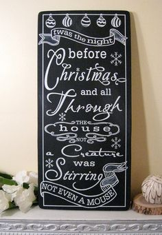 Twas the Night Before Christmas Sign - Custom Chalkboard -  Typography Word Art. $110.00, via Etsy.