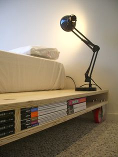 Plywood bed design by Mr.Gonzalez but to fit mattress and large white casters got:))