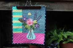 lulie wallace inspired mini quilt. Hand made.