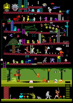 50 Retro 80's Arcade Games in one illustration. 50 Shades of Awesome!!