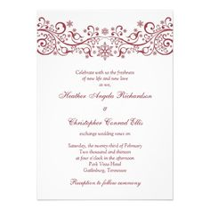 This red and white winter snowflake floral wedding invitation comes with white envelopes and the text is fully customizable. #winterweddings #weddings #winterweddinginvitations #weddinginvitations