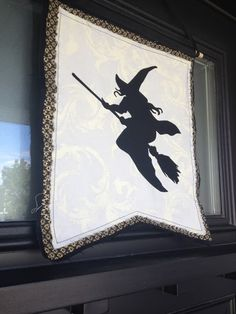 Silhouette America Blog | Halloween Banner created with stencil vinyl and fabric ink #witch
