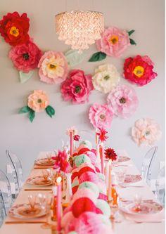 DIY Paper Flowers decor, idea, tissue paper flowers, parties, flower wall, papers, wall flowers, diy flower, bridal showers