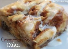 Cinnamon Roll Cake! My family devourers this breakfast! It the yummy flavor of cinnamon rolls but with a fraction of the work! Seriously, this is one recipe you have to make!