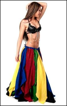 BellyDance Tribal Gypsy Renaissance Fairy Wench Costume 4 Color Petal Skirt PS19 | eBay