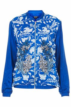 Topshop Embroidered Floral Bomber