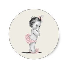 Vintage Pink Baby Shower Stickers