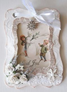 Such an incredibly gorgeous Christmas shadow box tag. #shadow #box #Christmas #vintage #shabby #chic #tag #handmade #crafts #paper #scrapbooking