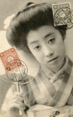 Tokyo Geisha with an Uchiwa (round fan), 1911