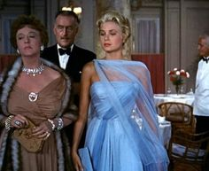 To Catch A Thief, 1955 Costume design: Edith Head  ice-blue chiffon evening dress with spaghetti straps, gathered skirt and apale blue chiffon scarf- worn by Grace Kelly in the role of Frances Stevens