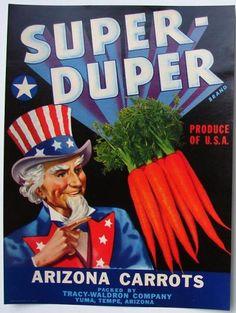 SUPER-DUPER Vintage Yuma, Arizona Vegetable Crate Label