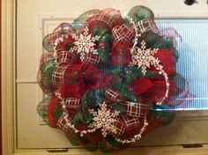 Geo Mesh Wreath red & green with snowflakes $45