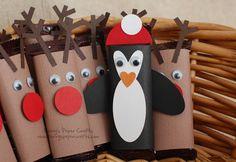 Hershey's bar reindeer and penguin covers. So cute!