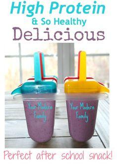 High protein greek & fruit yogurt popsicles.  Great snack!!
