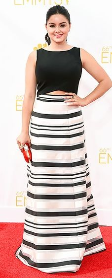 Ariel Winter wore a classic two-piece ensemble included a black top and striped full skirt by Black Halo Eve at the 2014 Emmys.