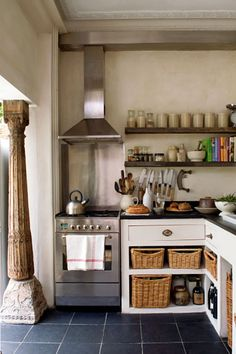 Industrial rustic in the kitchen- half open half drawer cabinets