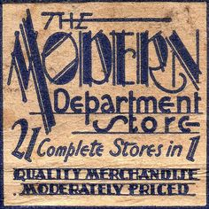 The Modern Department Store. Wonderful font on this 30s matchbook.