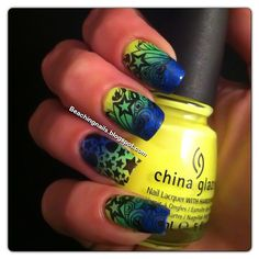 Fun Gradient with nail art. Pretty!  So easy with MOYOU nail art kits! Visit our website! www.lvnailart.com