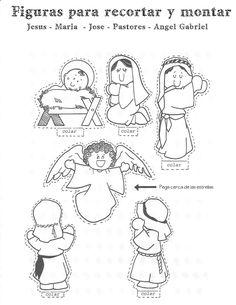 Jezus is geboren, knutselen met kleuter / Nativity for preschool / Blog para una Navidad Feliz: Figuras para montar un Nacimiento dio, crech, joulu, kerstknutsel, geboren, esperanca, blog, kerstmi, christma
