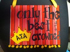 Rebecca V. from Emporia State did this super cute canvas for Alpha Sigma Alpha.  She used so much from her Supply Sack:  Ribbon, PomPom Trim, wooden crown, gems, paint, stencils and paint pens.  She also used one of the stencils that with the Canvas to make the stripes. Wow  DIYGreek.com  #alpha sigma alpha #asa #crown #sorority #diy #greek