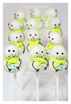 Cute Little Snowmen With Yellow Scarves Cake Pops