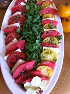 Arugula Salad with Tomato,Watermelon and Feta