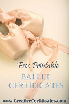 Free printable ballet certificates