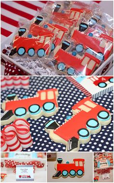 Train cookies at an adorable train party! Kara's Party Ideas KarasPartyIdeas.com