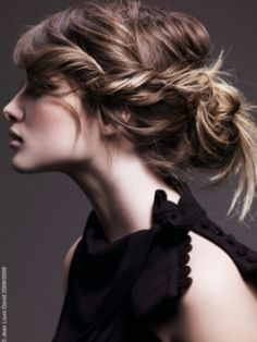 zero time = volumize crown, twist back bangs, pin, & throw the rest into a messy bun