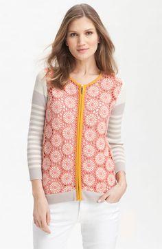 Tory Burch 'Elaine' Crochet Front Cardigan | Nordstrom