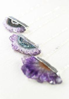 Koa necklace - amethyst druzy necklace by kealohajewelry https://www.etsy.com/listing/167508234 http://instagram.com/kealohajewelry