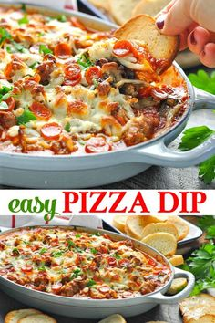 Need a crowd-pleasing appetizer, a potluck dish, or just a family-friendly dinner? This Easy Pizza Dip recipe is the perfect solution! #appetizer #partyfood #pizza