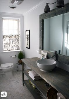 bathroom; weathered wood vanity; I love the way this looks