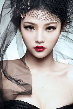 Lucious Red lips on Asian Model asian models, makeup eyes, beauty makeup, eye makeup, asian style, flawless makeup, red lips, makeup looks, asian makeup