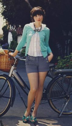 Zooey short, cotton, outfits, fashion, mint green, cloth, style icons, zooeydeschanel, zooey deschanel
