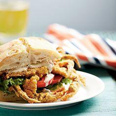 Soft-Shell Crab Sandwiches with Spicy Rèmoulade shells, sandwiches, softshel crab, hilton head island, seafood, softshell crab sandwich, coastal living, crabs, crab recipes
