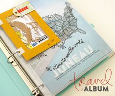Travel album - vellum map in page protector in front of full page photo