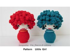 Fia, fiocco di cotone: pattern Little Girl - miniature doll amigurumi