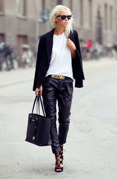 blazer, bag, street styles, black white, belt, winter trends, trouser, killer heels, leather pants