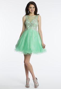 Camille La Vie Short Illusion Prom Party Dress