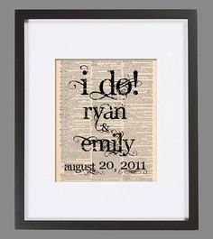 I DO Vintage Art Print 8x10 Custom Personalized Wedding Print on Antique 1800s Book Page or Dictionary Page Book Art Print