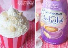 How to make cupcake frosting with coffee creamer! This one's for white chocolate macadamia nuts but you could easily sub for other kinds: I'm thinking amaretto or Irish crème : ]